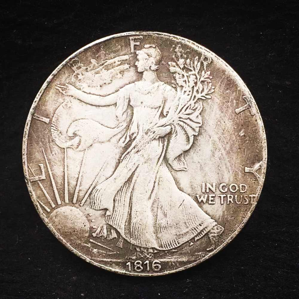 1816 골동품 구리 동전 미국 오래 된 복사 복제 동전 소장 자유 실버 무역 달러 아트 선물 산책