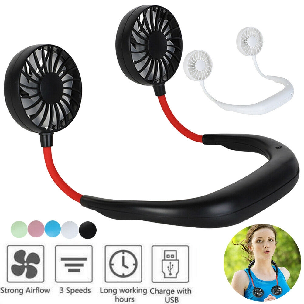 3 speed adjustable usb portable wearable fan hands free with neckband for home office