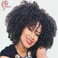 8A Sexy Short Bob Perucas Excêntricas Encaracolados Virgem Não Processado Afro Crespo Cabelo encaracolado Perucas Cheias Do Laço Com Franja Sem Cola Peruca do Laço Frontal