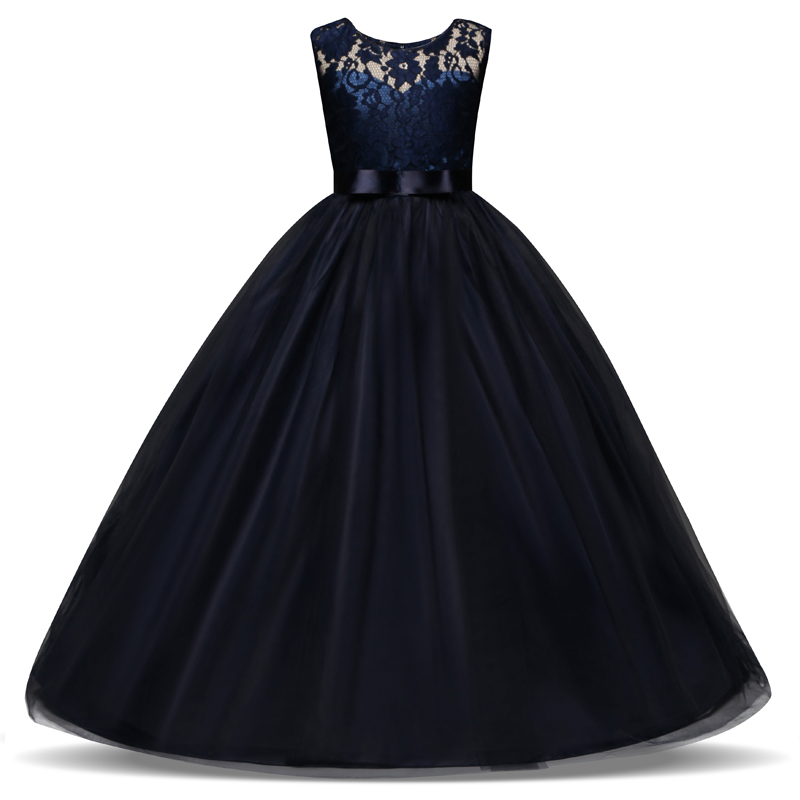 HTB12ooSd21H3KVjSZFBq6zSMXXaE New Princess Lace Dress Kids Flower Embroidery Dress For Girls Vintage Children Dresses For Wedding Party Formal Ball Gown 14T