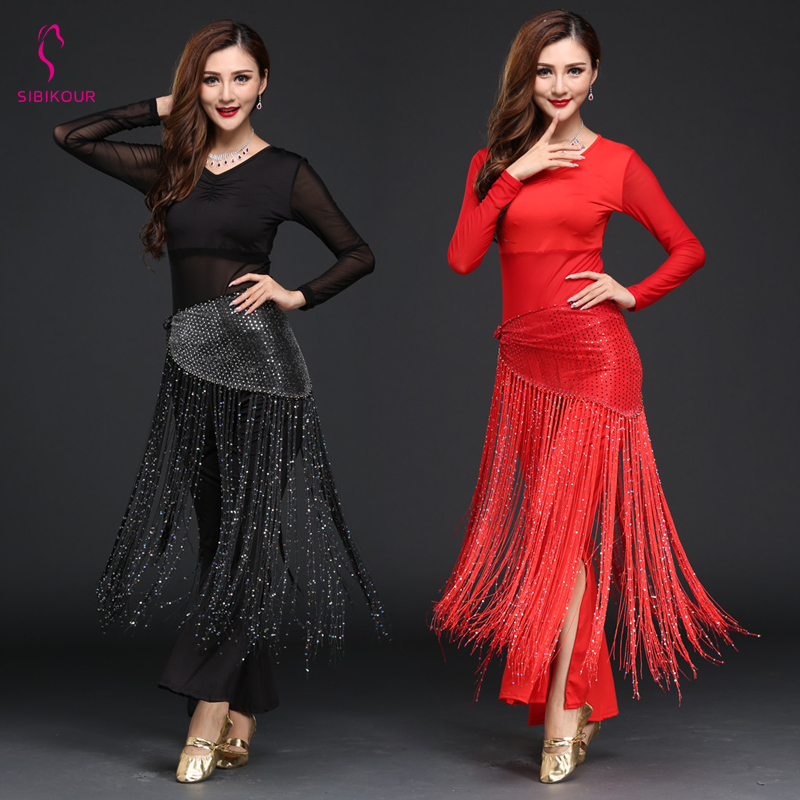 Women Belly Dance Costume Practice Wear Oriental Bollywood Indian Hip Scarf Top Pant Belt Stage Wear Training Wear Long Sleeves