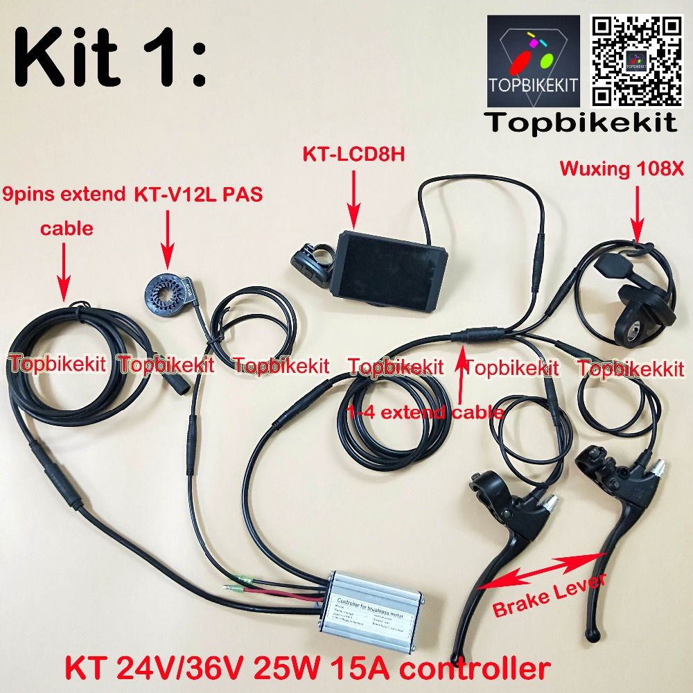 LCD3//LCD8S+108X throttle KT-V12L KT Controller Kit 36V//48V 500W Brake ebike
