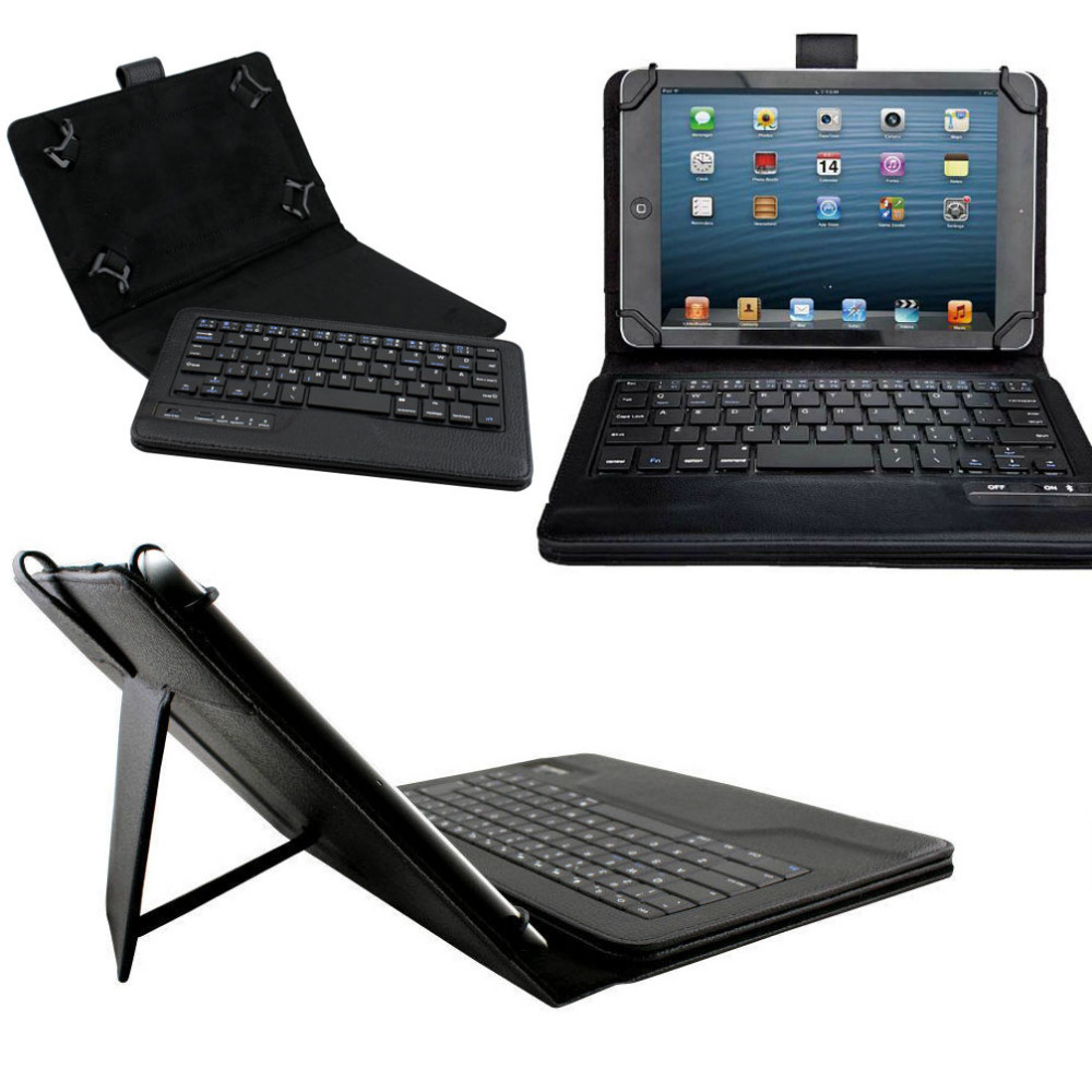 Universal Dechatable Bluetooth Keyboard & PU Leather Case Cover With Stand for lenovo Tab 2 A7 A7-20 A7-20F 7.0 tablet universal 61 key bluetooth keyboard w pu leather case for 7 8 tablet pc black