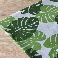 Cotton Linen Green Leaf Printing Fabric Canvas Flax DIY Handmade Quilting Craft For Home Decoration Tablecover