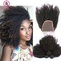 Raw Cabelo Virgem Indiano Encaracolado Com Fechamento Encaracolado Afro Crespo cabelo 3 Bundles Com Fechamento Indiano Cabelo Encaracolado Kinky Humano Com fechamento