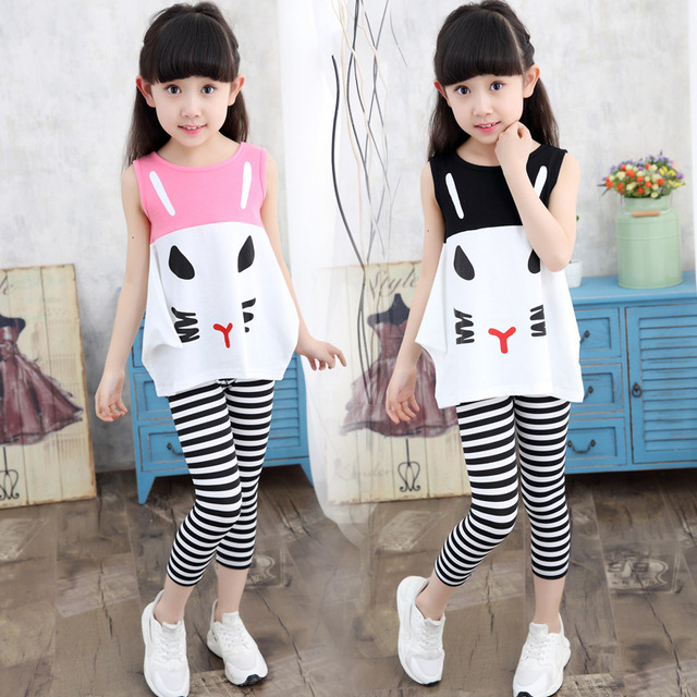 1f1c4f1bbf412 US $10.3 |Korean Style Girls Summer Casual Clothes Set Children Sleeveless  Lovely Cat Tshirt + Long Pants 2016 Girl Clothing Sets for Kids-in Clothing  ...