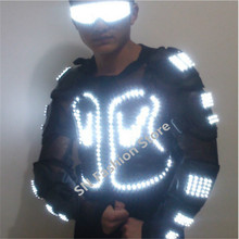 HH61 White color Men ballroom dancing luminous LED light armor costume suit DJ disco bar party event supply laser festival show
