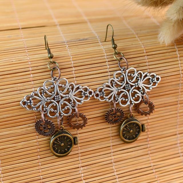 Creative Handmade Gear Wheels and Clock Shaped Metal Steampunk Earrings
