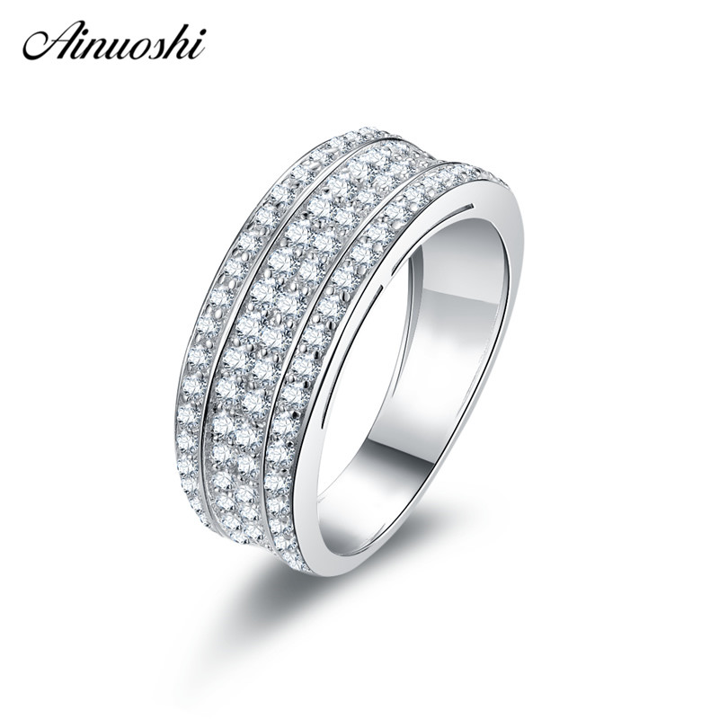 Ainuoshi Geometry 925 Sterling Silver Wedding Rings Engagement