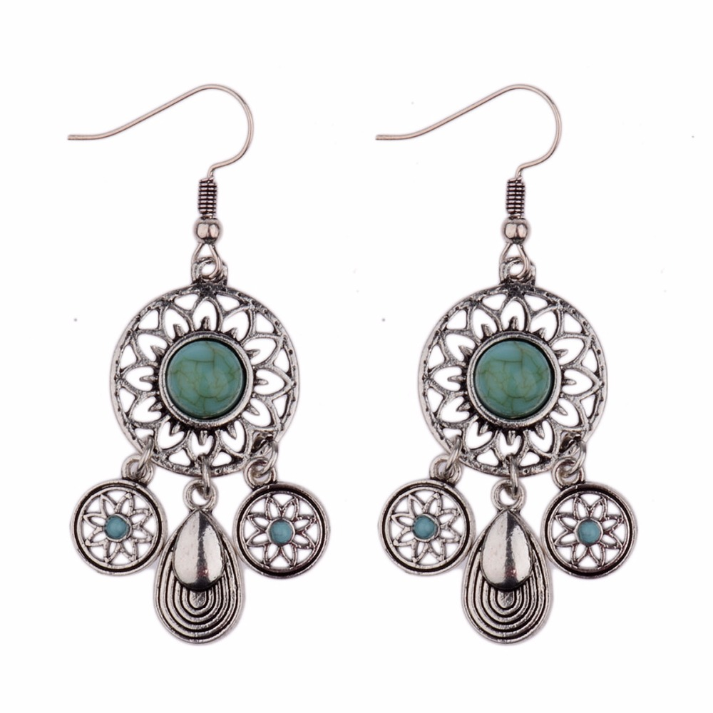 Blue Stone  Vintage Drop Ethnic Tribal Earrings