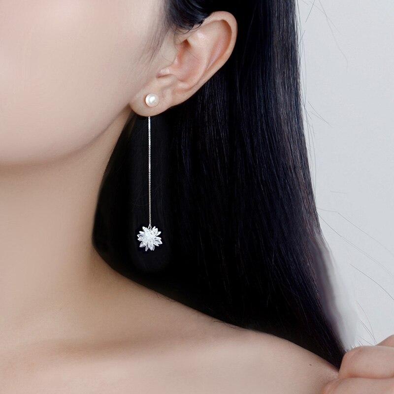 99 pure Silver ear studs pendant female long fringed flower earrings assembly Jewelry temperament Ear Clip korean earrings 020