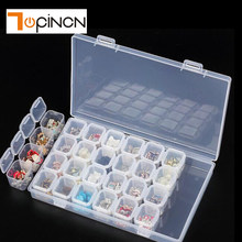 28 Slots Plastic Craft Nail Art Rhinestone Storage Box Organizer Containers Jewelry Beads Diamond Painting Box Organizer Holder(China)