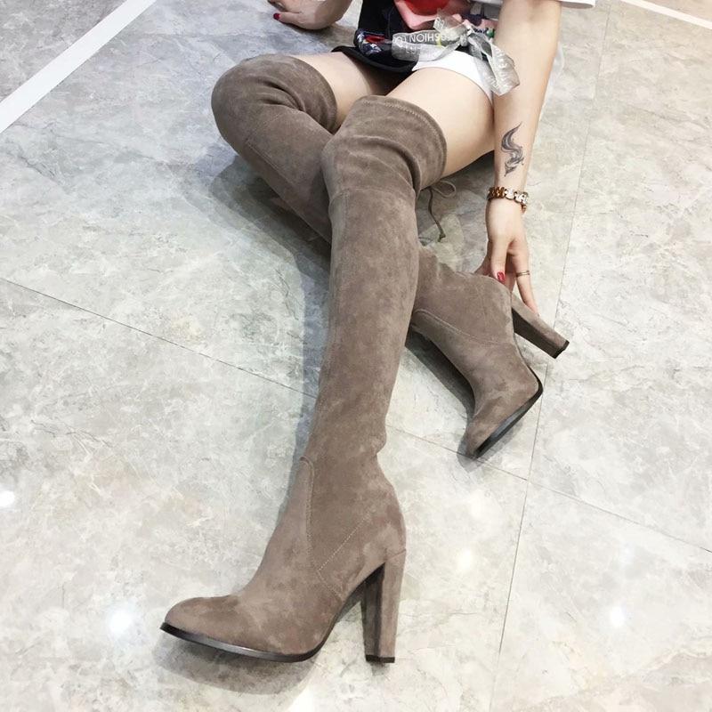 Sexy Femme Taille Femmes Noir 34 Chaussures Genou Longues Mode marron Haut Tissu Bout Le En De Sur gris Nouvelle Bottes 41 Suède Talon Extensible Véritable ardoisé Pointu Cuir ASW1UTTBqP