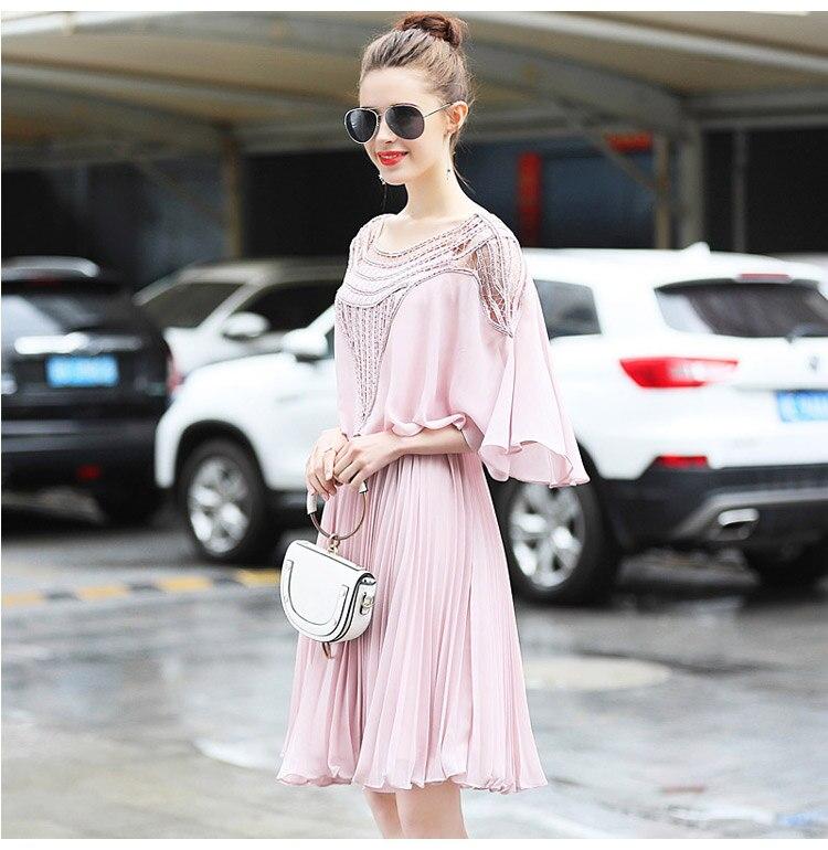 Mousseline Deux Femmes Manches Mince Empire Taille Slim Robe Rose De Flare Plissée Xxl Dames 2018 Plus Pièces Élégantes Soie D'été 8qr84RZ