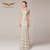 2016 Coniefox New Phong Cách Thêu Hoa Sequins Net Màu Be Prom Evening Dài Gown Đặc Biệt Occasion Dress 31212