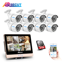 New Arrival 8CH Plug And Play 2 0MP POE NVR CCTV Kit 12 LCD 1080P HD