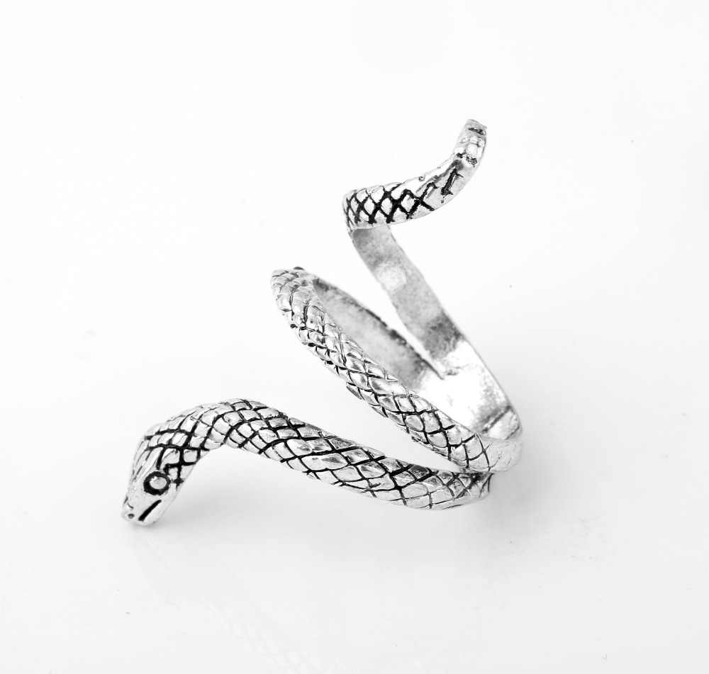 Regulowane pierścienie węża dla kobiet mężczyzn kolor srebrny metale ciężkie pierścień punk rock Vintage Animal Party Trendy biżuteria prezent hurtownie