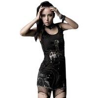 Punk Yaz Tankı Üstleri Püsküller Yelek Do Eski Baskı Kadın Yelek Siyah Kolsuz T-Shirt