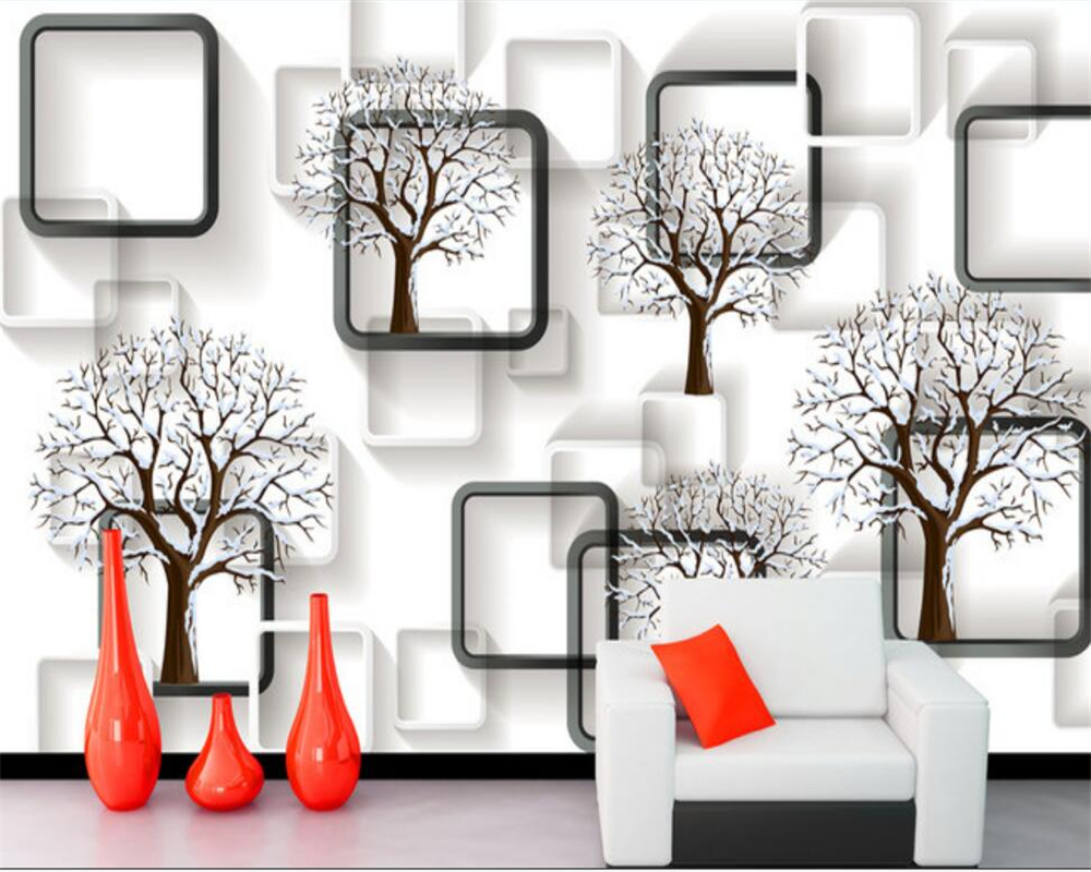 Beibehang Wallpaper Black And White Grid Tree 3D