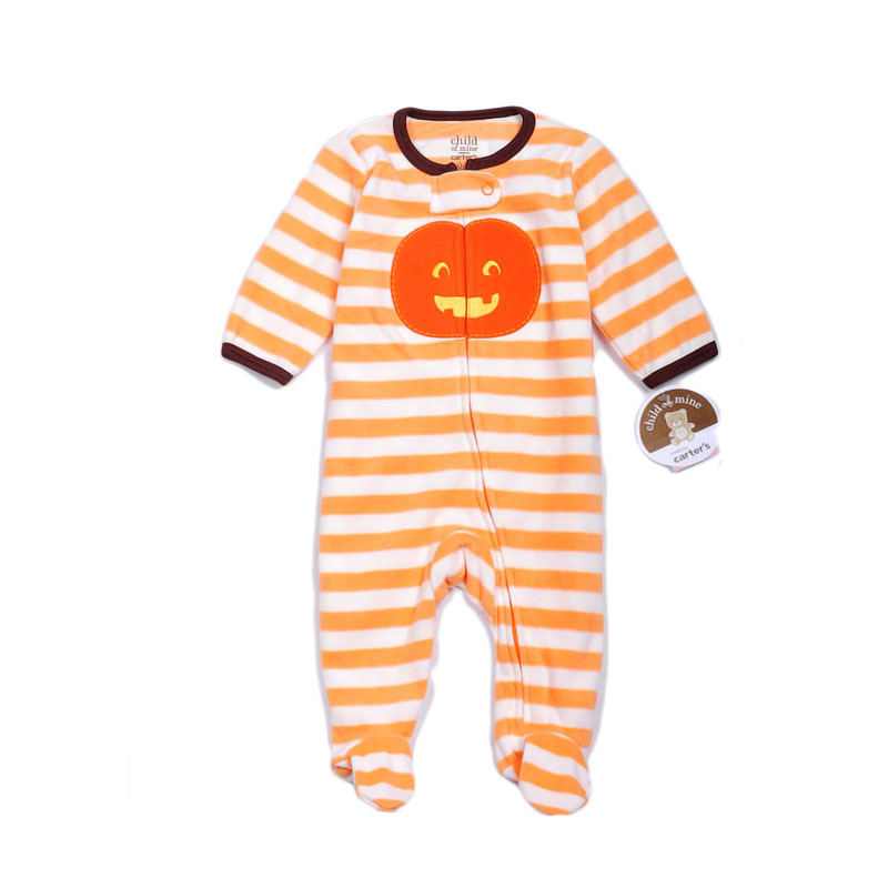 brand carters baby girls retail long sleeve striped halloween pumpkin fleece infantil footed pajama jumpsuit in rompers from mother kids on