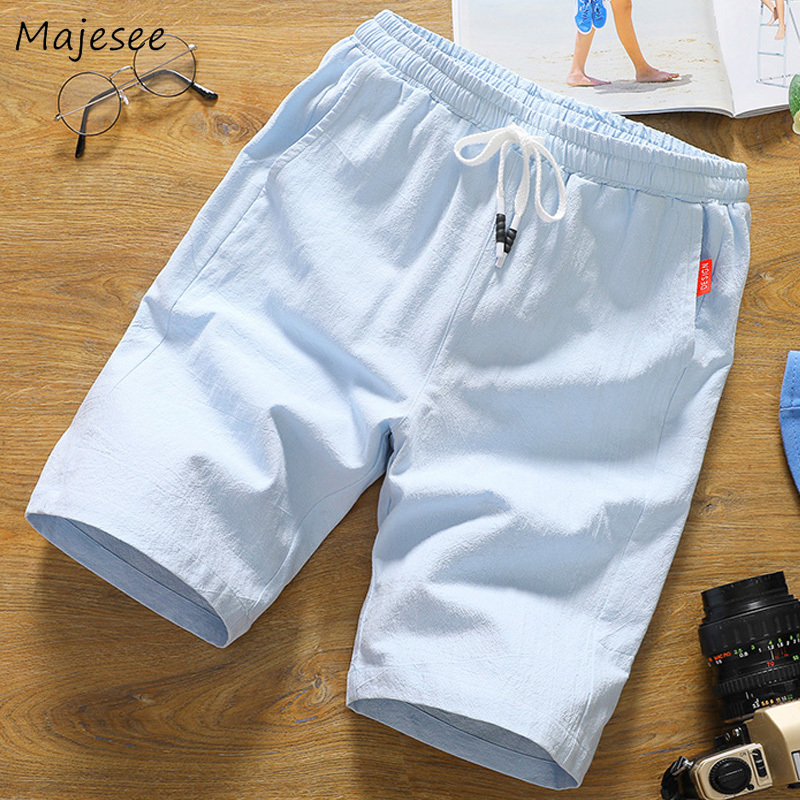 Casual Shorts Men Elastic Waist Simple All-match Harajuku Korean Style Solid Color Knee Length Summer Breathable Mens Chic Male