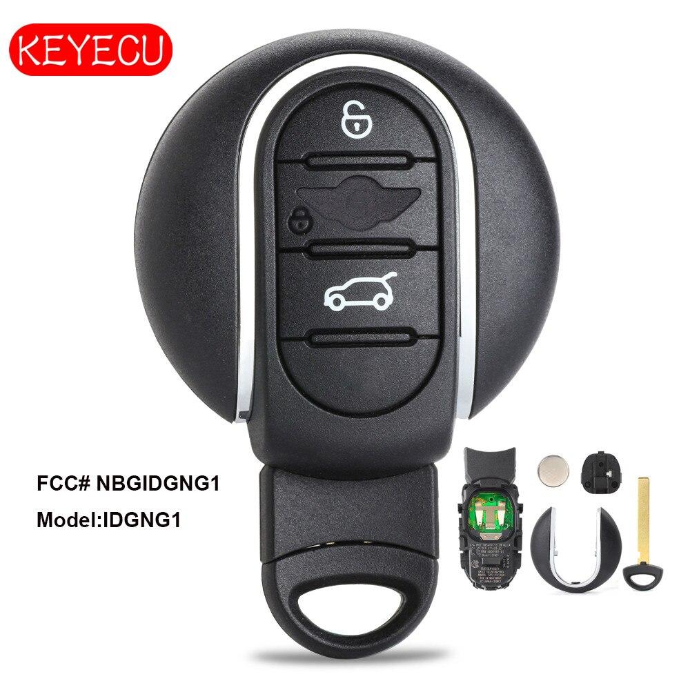 Porte-clés de voiture à distance intelligente Keyecu 434 MHz pour BMW MINI Cooper 2016-2017 avec clé d'insertion IC: 2694A-IDGNG1
