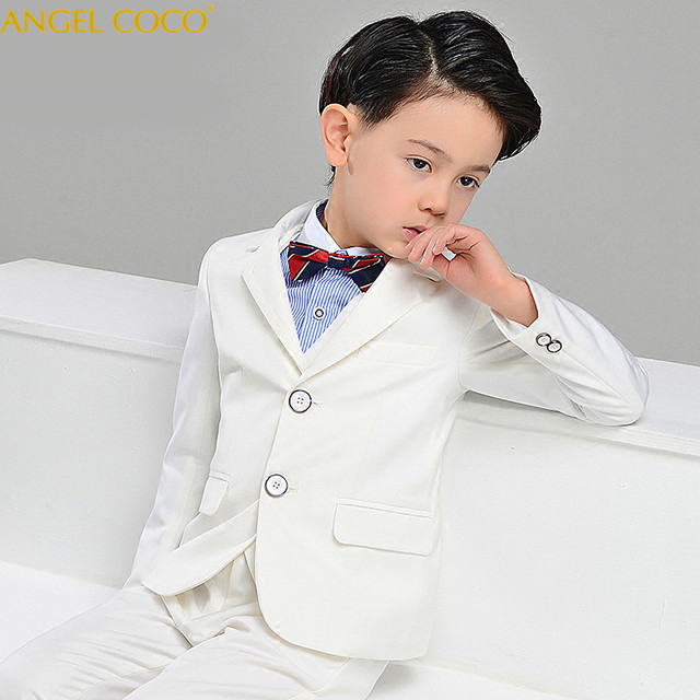 4 Pieces Blazers For Boys Boys Suits For Formal Party Boys Prom Suits White Evening Child Communion Teenagers  Costume Garcon