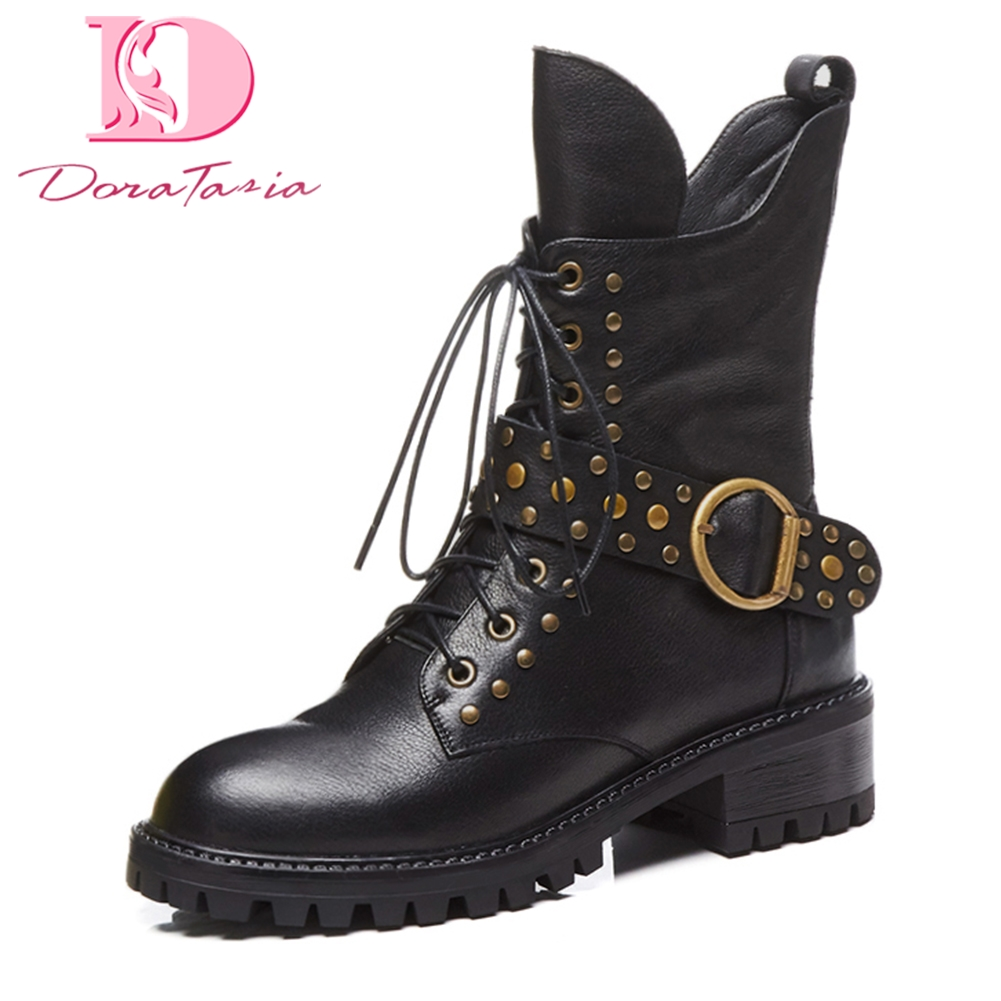 DoraTasia large Size 34-42 genuine leather zip up rivet shoes woman martin boots cow leather mid calf boots woman shoes doratasia 2018 genuine leather zip up cow leather shoes woman martin boots chunky heels wholesale mid calf boots woman shoes