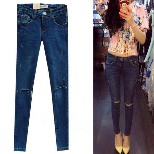 ФОТО 2016 Knee Hole Skinny designer brand destroyed tights High Waist Pencil Pants denim ripped jeans For Women