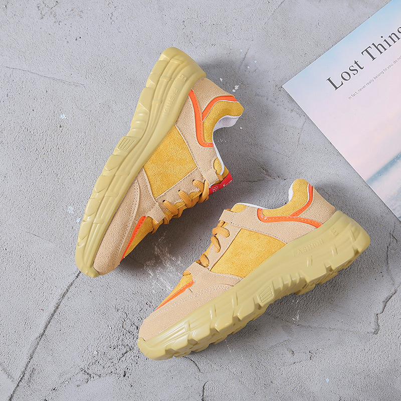 Spring Autumn 2019 Daddy shoes female new Walking shoes Sponge cake Thick bottom Student Genuine leather Leisure Tennis shoes 2