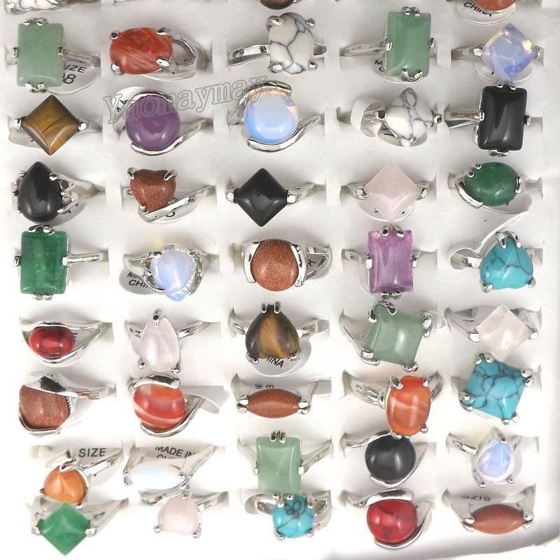 Prix pour Mix Lot pierre naturelle anneaux femmes anneau mode bijoux Bague 50 pcs livraison gratuite