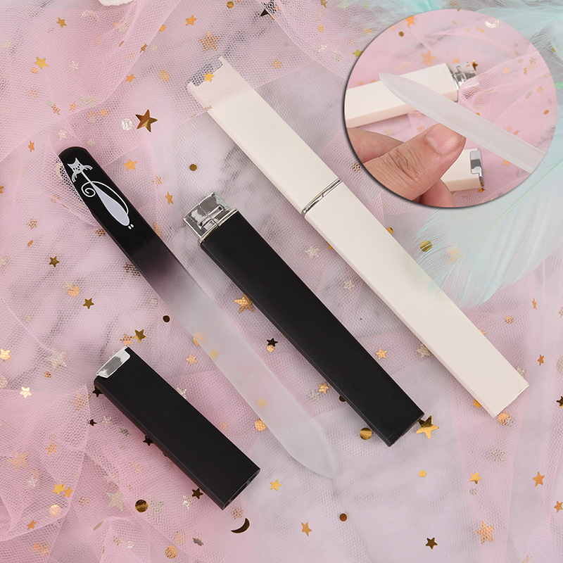 2pcs/set Nail Files Cat Pattern Crystal Glass Nail File With Faux Black & White Plated Plastic Hard Case Nail Tools
