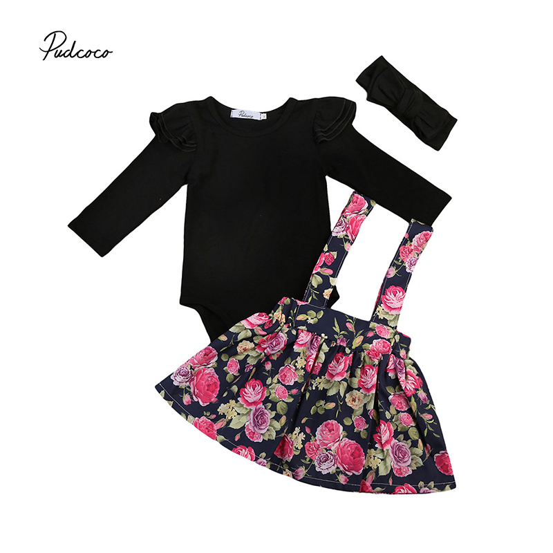 Cute Newborn Princess Girl Clothes Long Sleeve Black Romper Tops+Floral Overall Skirt Headband 3PCS Outfit Toddler Kids Clothing 2017 autumn newborn baby girl clothes long sleeve cotton romper bodysuit tops pant headband outfit 4pcs children clothing set