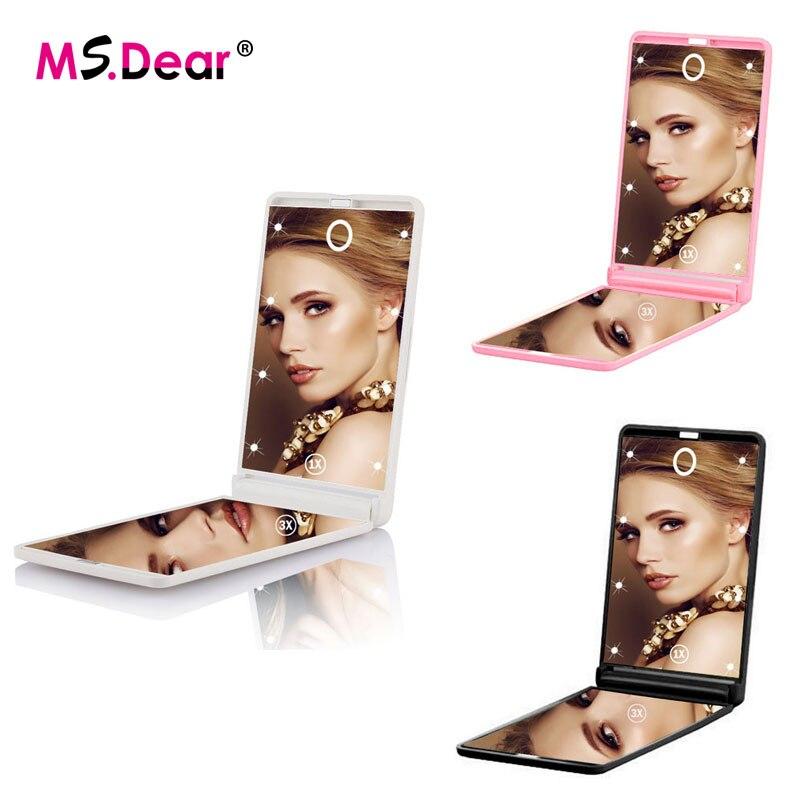 Pieghevole 3X di Ingrandimento Compatto Tasca Specchio Cosmetico Trucco Specchio Con Illuminazione 2 Lati 8 LED Touch Screen Specchio Viaggi