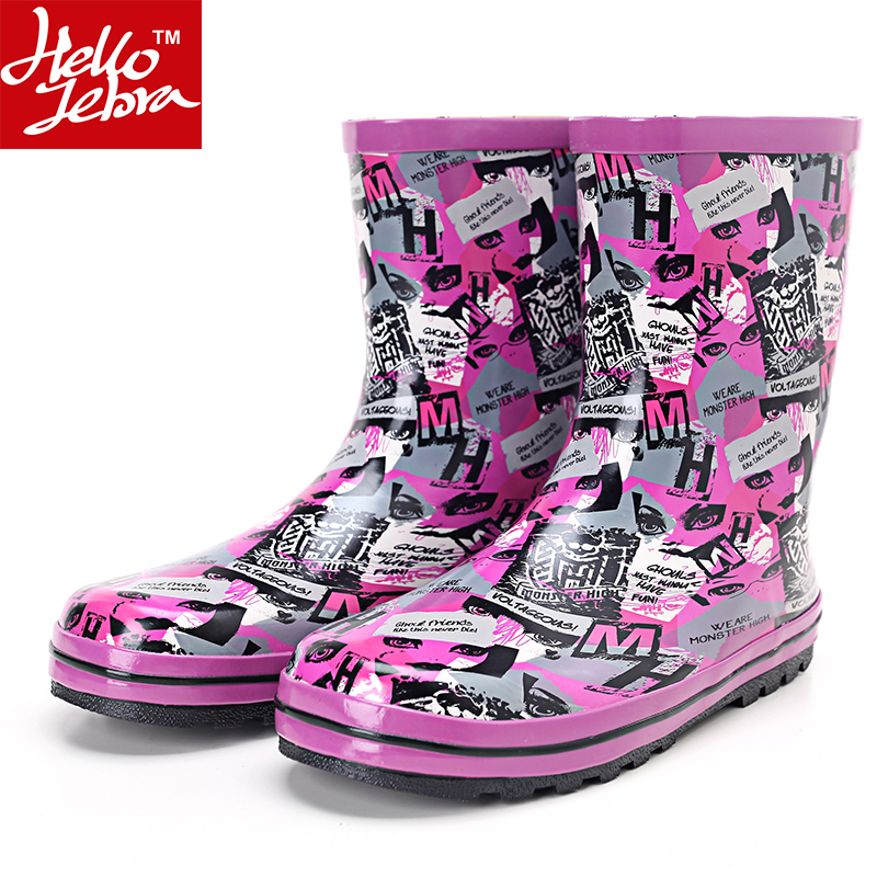 RainBoots Ladies Fashion Rubber Rain Boots Waterproof Women Hot sale 2016 Shoes Mid-Calf  Shoes Skid Summer Best Selling Korean double buckle cross straps mid calf boots