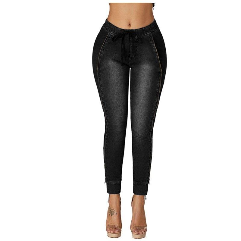 2019 Autumn Boyfriend Jeans Harem Pants Women Trousers Casual Loose Fit Vintage Denim Pants  Side Zipper Decorative Jeans