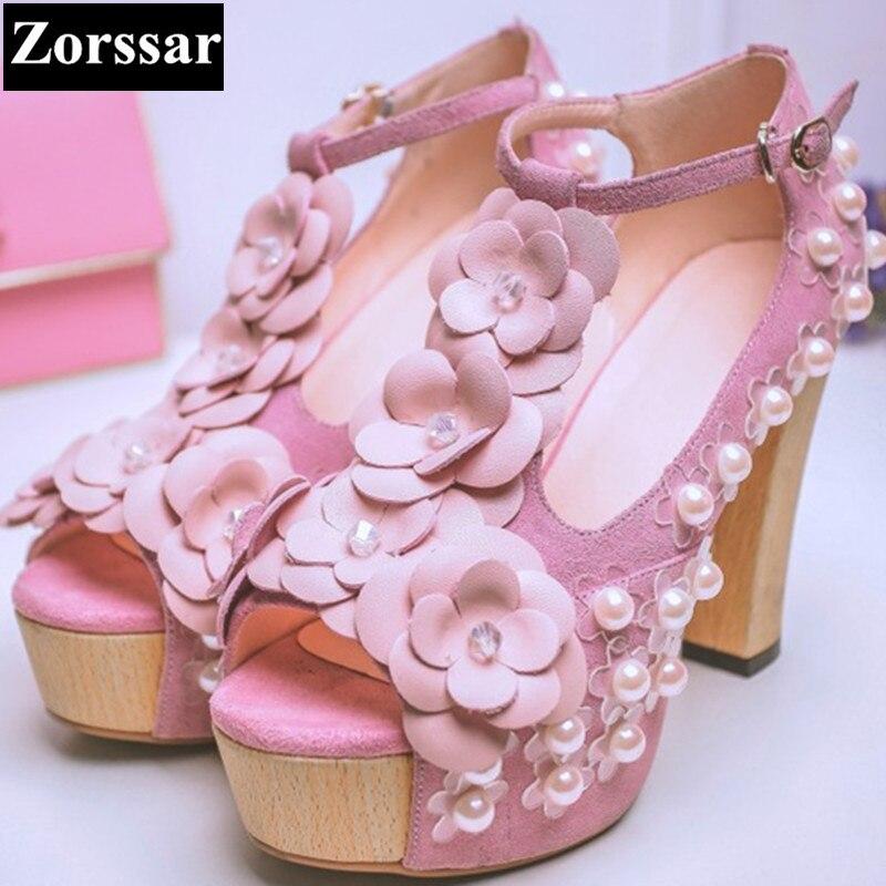 ФОТО Summer Womens shoes platform peep toe high heels sandals women pumps thick heels 2017  Fashion sweet flowers woman High heel