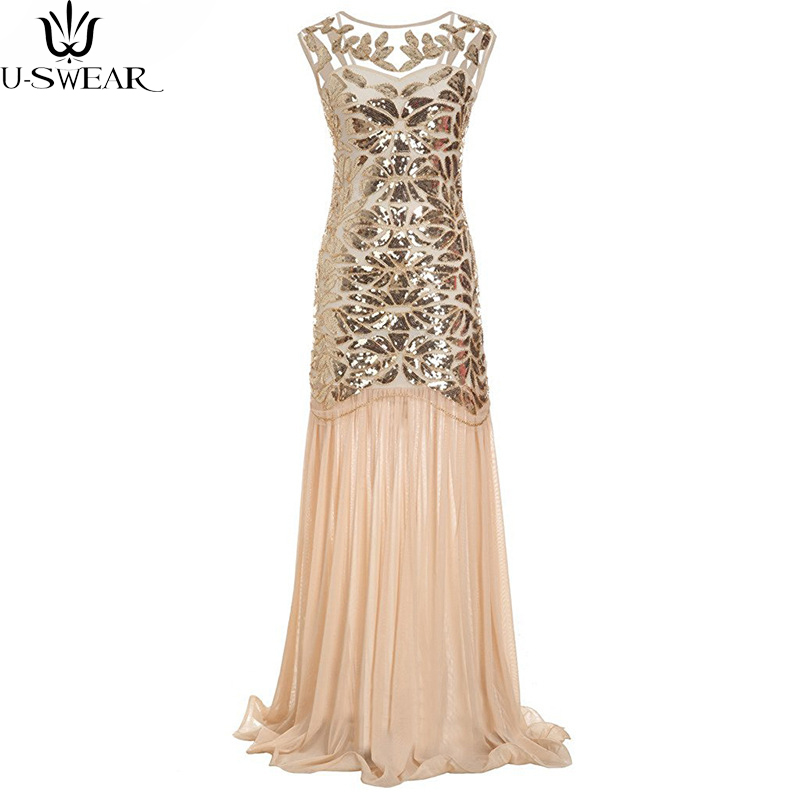 Stylish Retro Womens Shiny Sequins Mesh Sexy Floral Sleeveless Evening Party Wedding Long Full Length Dress Maxi Tassels
