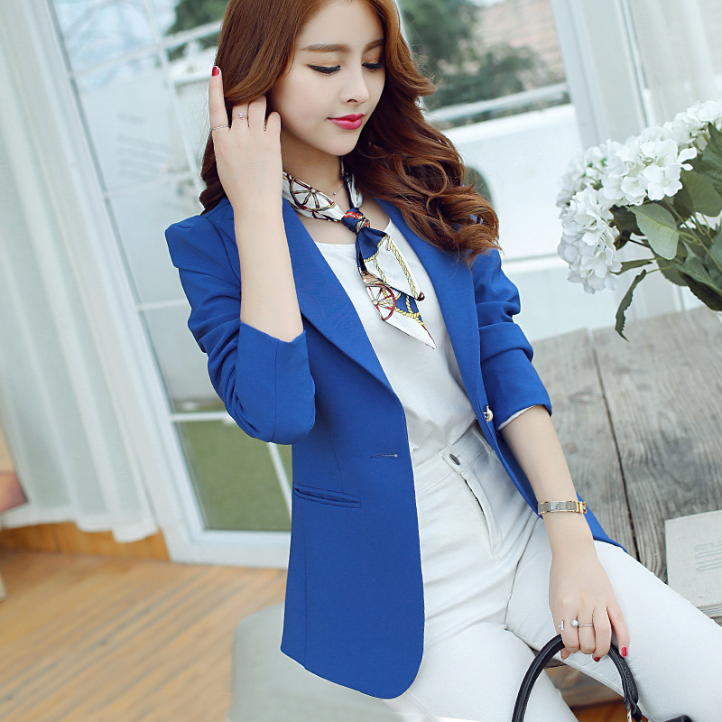 Female blazer outerwear 2018 spring and autumn women suit slim design women blazer blue suit fashion jacket coat girls clothing