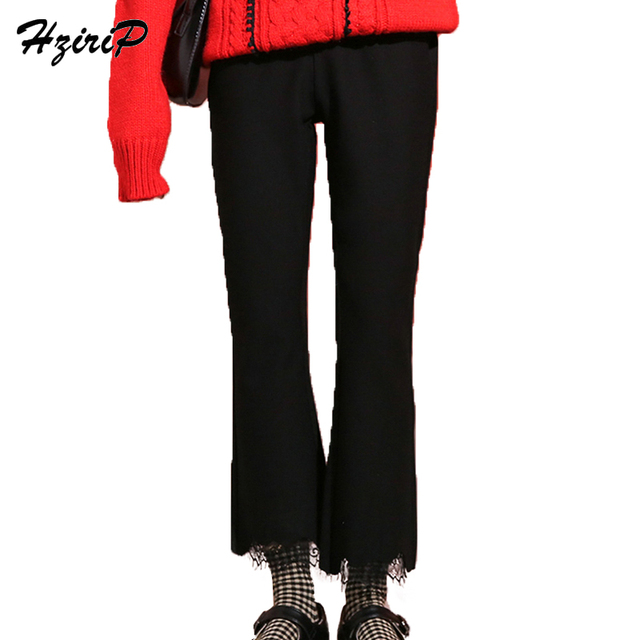 Hzirip Women Black Flare Pants 2018 New Spring Fashion Office Wear OL Solid  Color Slim High 434c2dc5350