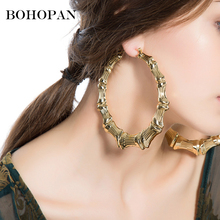 Big Hoop Earrings For Women Girl Large Bamboo Circle Heart Gold Silver Fashion Brincos Party Statement Jewelry Gift