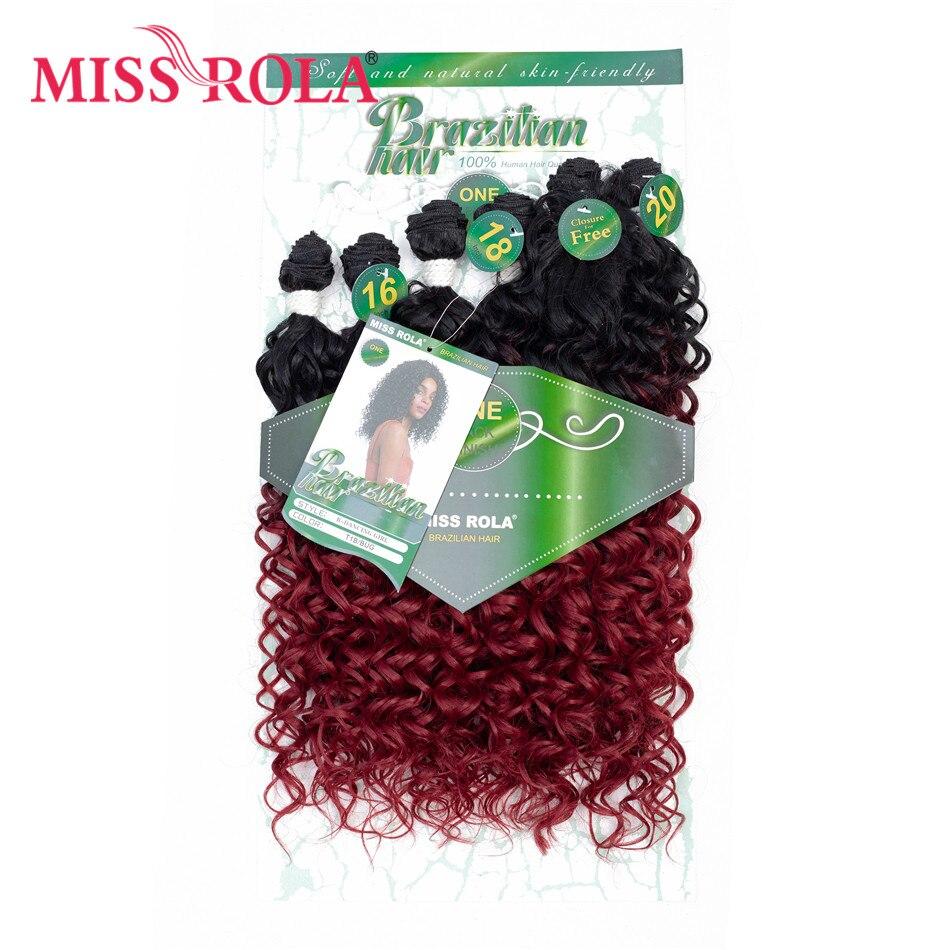 Синтетические вьющиеся волосы Miss Rola для наращивания, Цветные Волнистые пряди для волос 16-20 дюймов 6 шт./упак. 200 г T1B/баг с бесплатным закрытие...