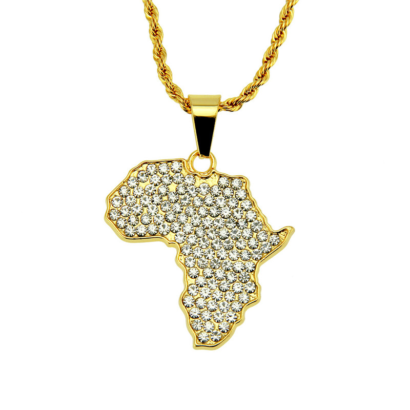 1PC Street fashion Europe and America hip hop personality Africa map inlaid zircon pendant necklace