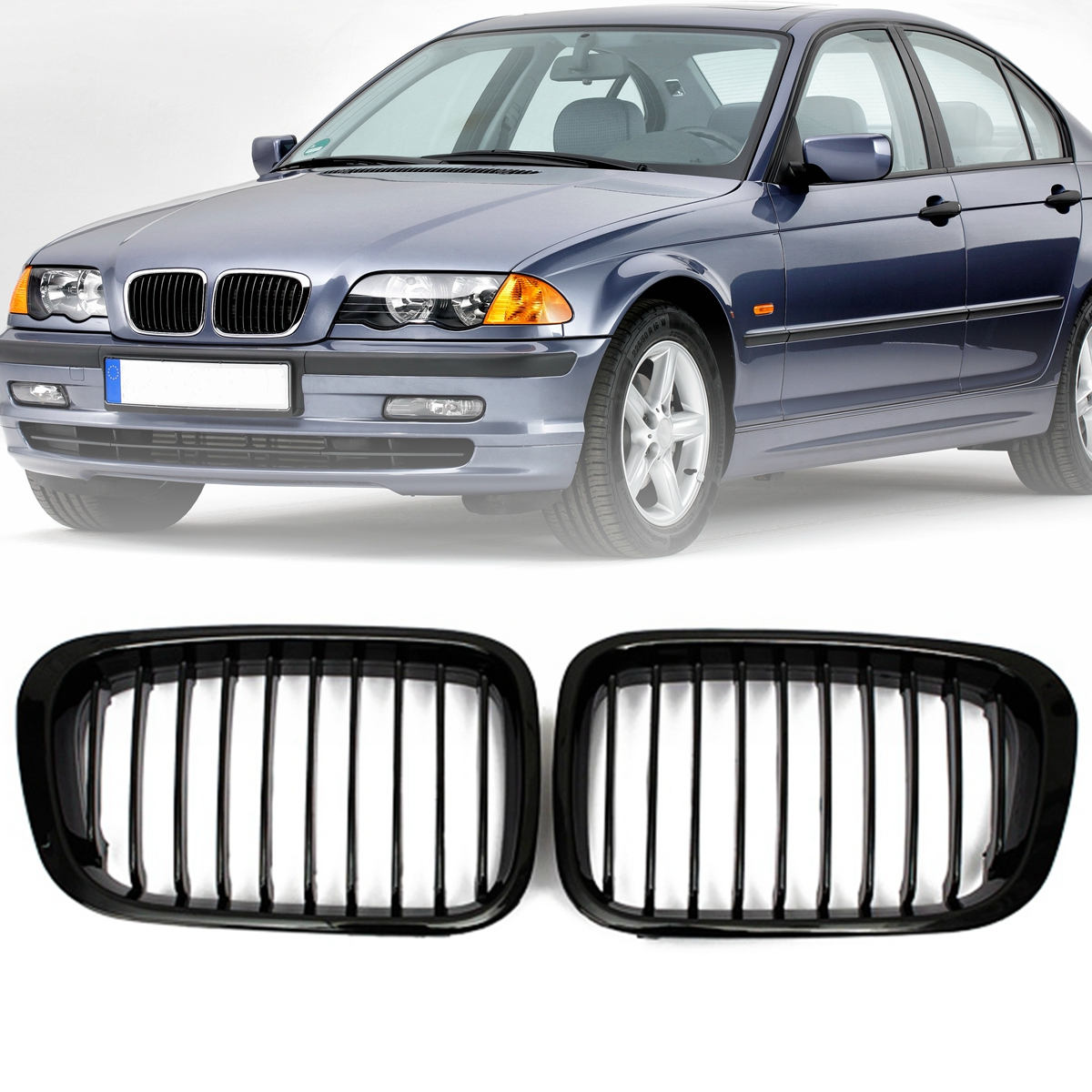 Pair Gloss Black/Matte Black Front Kidney Grill Grille For BMW 3 Series E46 1999 2000 2001 4Door 323 325