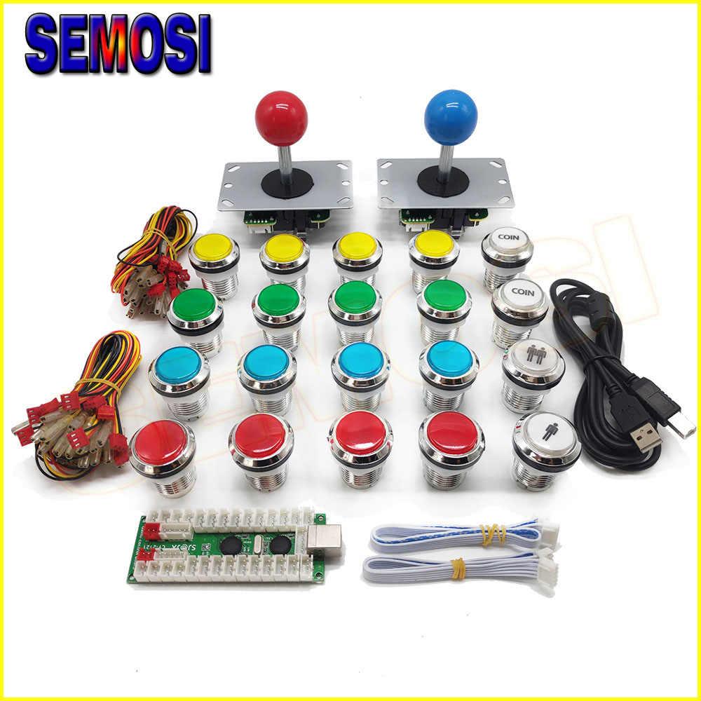 Two Players Arcade DIY Kits Parts USB Encoder to PC 5 Pin Joystick +