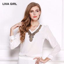 LIVA GIRL Antique V-neck women blouse 2017 Summer fashion blusa Long sleeve shirt plus size Solid color Tops Work clothes