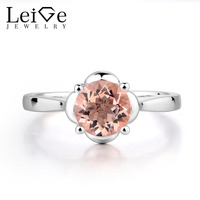 Leige Jewelry Pink Natural Morganite Engagement Rings Round Shape Prong Setting Romantic Gifts For Girls Genuine Fine Jewelry