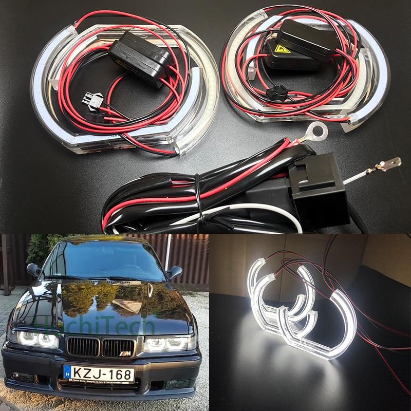 Pour 1996-2000 BMW E36 3 Série Coupé et cabriolet Voiture Style de Haute Qualité DTM Style Blanc Cristal LED ange yeux la lumière du Jour