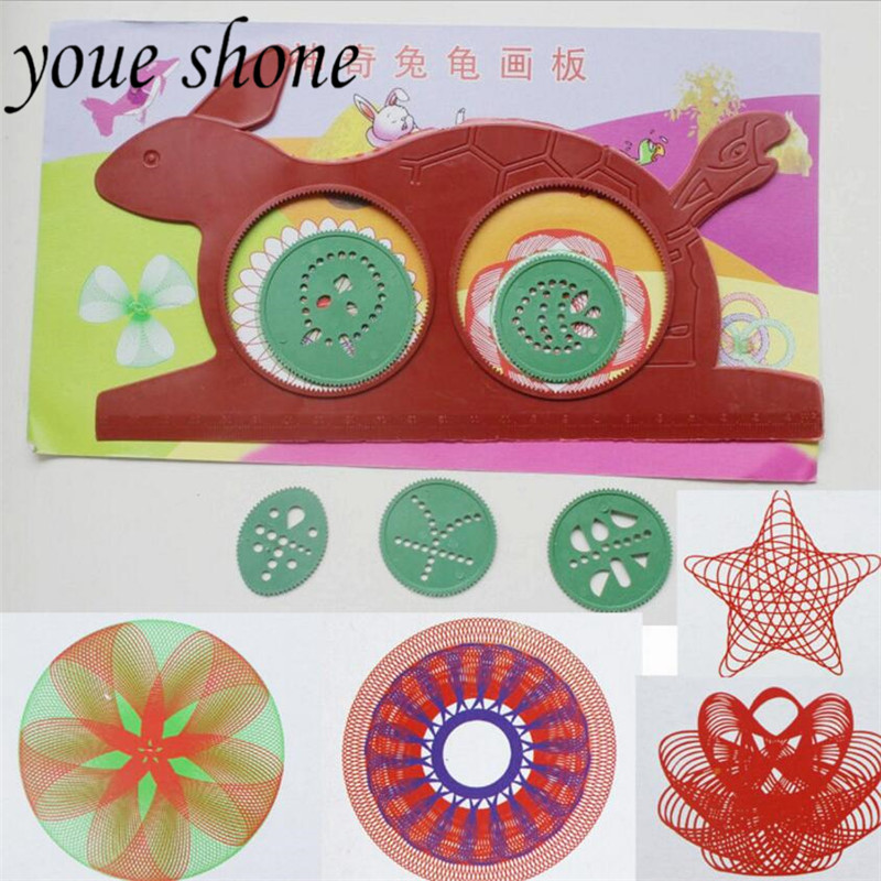 Drafting Supplies Exquisite Spirograph Magic Turtle Rabbit Drawing Board Kids Educational Toy W25 Rulers