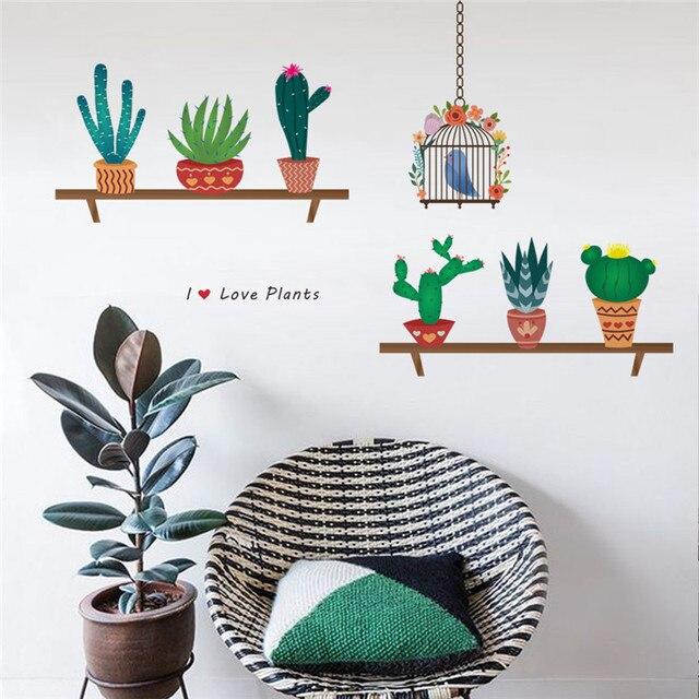 garden plant birds wall sticker home decoration 3d effect mural